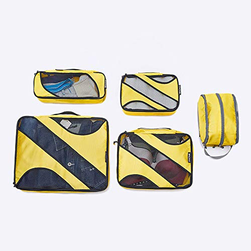 ROGF Travel Storage Bag For Travel Bags Luggage Organizer 5 Set Packing Cubes For travel (Color : Yellow)