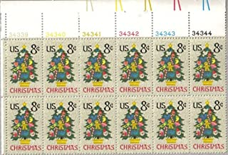 1973 CHRISTMAS TREE #1508 Plate Block of 12 x 8 cents US Postage Stamps
