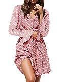 MISSLOOK - Vestito da Donna a Pois, con Scollo a V, Maniche Lunghe, Volant e Cintura - Rosa - M