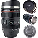 Tmango Camera Lens Coffee Mug with Retractable Lid, Stainless Steel Photo Coffee Cup, 13.5-Ounce for Photographer Lovers Gift