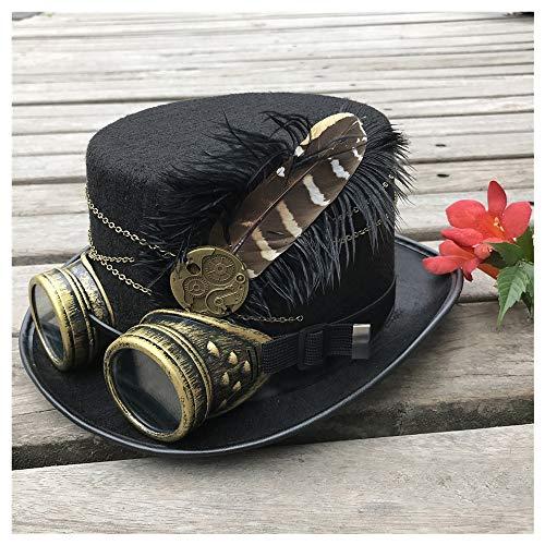 Punk - Sombrero de fiesta de alta gama para hombre y mujer, hecho a mano, estilo steampunk, con gafas, sombrero de cosplay, gorro de baile, decoración de fiesta, tamaño 57 cm, negro, 57