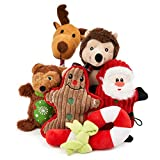 6 Jouets de Noël en Peluche, Jouets Grinçants et à Mâcher pour Chiens| Jouets Interactifs pour Chiots, Petits et Moyens Chiens| Solide, Lavable, Non Toxique| Cadeau pour Animaux Domestiques.