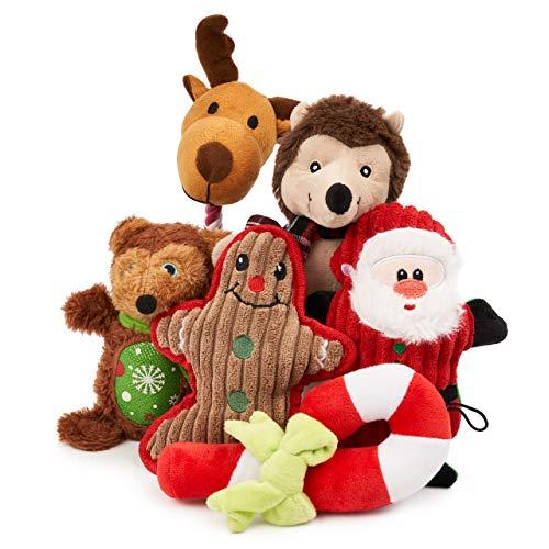 6 Weihnachten Plüsch Hundespielzeug Kauspielzeug Quietschspielzeug| Festlich & Weich| Interaktives Spielzeug für Welpen, Kleine Mittlere Hunde| Langlebig, Waschbar, Ungiftig| Geschenk für Haustiere.
