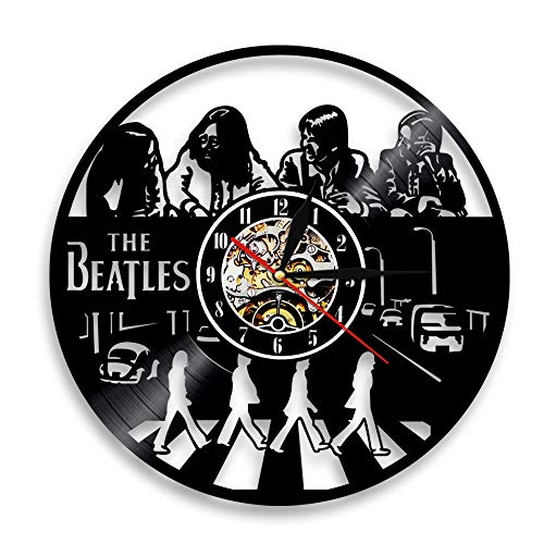 BFMBCHDJ Sänger Beatles Schallplattenuhr Retro Nostalgic Home Decoration Wand Wanduhr A1 Mit LED 12 Zoll