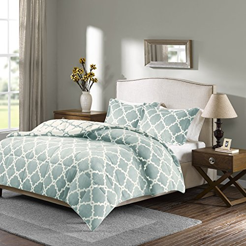 Sleep Philosophy Peyton Reversible Fretwork Print Plush Set Bedroom Comforters with Shams Ultra Soft and Cozy, King, Aqua