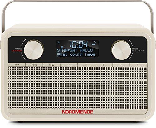 Nordmende Transita 120 tragbares DAB Radio (DAB+, UKW, 24 Stunden Akku, Aux In, Wecker, 2 Weckzeiten, Sleeptimer, Snooze-Funktion, Kopfhöreranschluss) beige