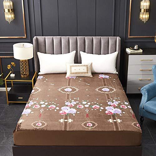 GmanXier Funda de Cama de Hoja Impermeable de Franela Color sólido y patrón Adecuado para habitación de invitadosDiseño 4El 120 * 200cm