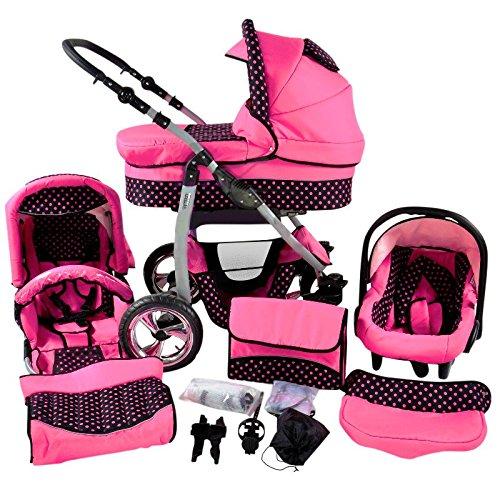 Chilly Kids Dino 3 in 1 Kinderwagen Set (Autosit & Adapter, Regenschutz, Moskitonetz, Schwenkräder) 45 Rosa & Rosa Punkte