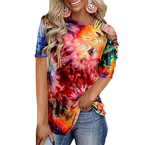 Camiseta Casual Sin Tirantes Suelta con Estampado De TeñIdo Anudado De Primavera Y Verano para Mujer