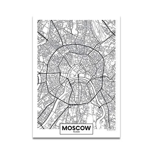 zxddzl Mapa de la Ciudad en Blanco y Negro Pintura decoración del hogar 1 30 *...