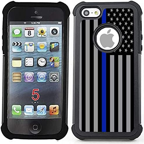 Corpcase Hybrid Case for iPhone 5 5S SE Thin Blue Line USA Police Flag Unique Case with Great product image