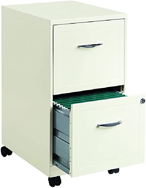 Hirsh SOHO 18 Deep 2 Drawer Mobile Smart File Cabinet In Pearl White