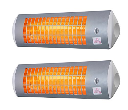 Firefly 1.8kW Wall Mounted Quartz Outdoor Indoor Patio Heater with 3 Power Settings - Set of 2 (White)
