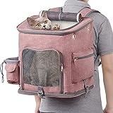 Hivexagon Reise Tierträger Haustier Rucksäcke für Hunde/Katze mit Masche für Reisen, abnehmbare Vliesmatte, mit innerem Kragen-Schnalle bis zu 16,5 Pfund für Outdoor, Picknick und Shopping PT047