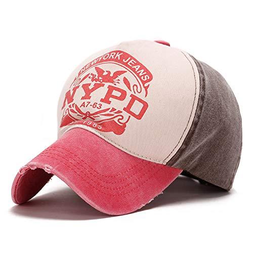 WAZHX Nuevos Hombres Y Mujeres Pares Sombreros Verano Moda Protector Solar Gorra De Béisbol Carta De Color De Golpe Salvaje Sombrero para El Sol Águila Ajustable Sandía Aleros Rojos con Marrón