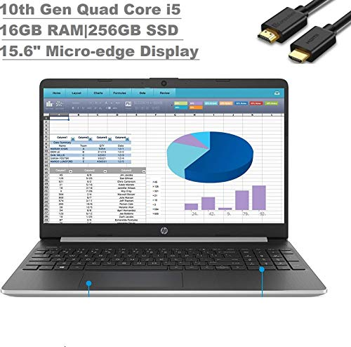 2020 Newest HP 15 15.6' HD Micro-Edge Business Laptop(10th Gen Intel Core i5-1035G1, 16GB DDR4 RAM, 256GB PCIe M.2 SSD) USB Type-C, HDMI, HD Webcam, Windows 10 Home + IST Computers HDMI Cable
