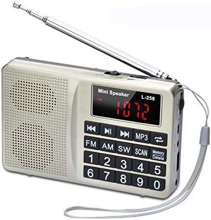 Songway FM Am SW Radio portátil de Bolsillo Reproductor de música MP3 con Conector para Auriculares, Compatible con Tarjeta TF/Disco USB con Pantalla LED con batería Recargable (Amarillo): Amazon.es: Electrónica