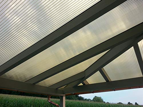 Acrylshop24 Terrassendach Terrassenüberdachung Carport Komplettset Polycarbonat 16mm 3-Fach Stegplatten Bronce Bronze 16mm Stegplatten Tiefe:7000mm|Breite:3090mm - Mehrere Maße verfügbar