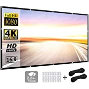Projection Screen 84inch 16:9 HD Foldable Anti-Crease Portable Projector Movies Screen for Home Theater Outdoor Indoor Support Double Sided Projection by P-JING