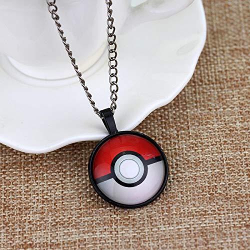 guodong Caliente Pokemon Collares Largos Elf Ball Pokeball Cristal Cabujón Colgante Cadena Collares Joyería De Anime para Niños Niñas