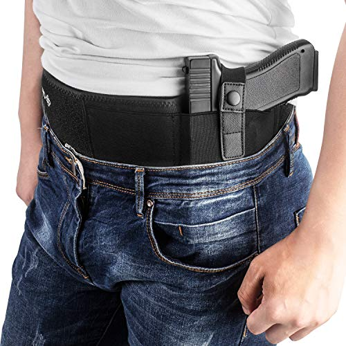 Belly Band Holster for Concealed Carry, IWB Gun Holster for Men and Women, Most Comfortable Waistband Handgun Carrying System with Magazine Pouch, One Holster Fits Most Pistols & Revolvers (Left)