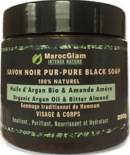 Peeling traditionelle schwarze Seife 250g -100% natürliches aus Marokko Arganöl und Bittermandeln, Weltberühmte Anti-Falten. Peeling mit natürlicher schwarzer Seife, reich an Vitamin E