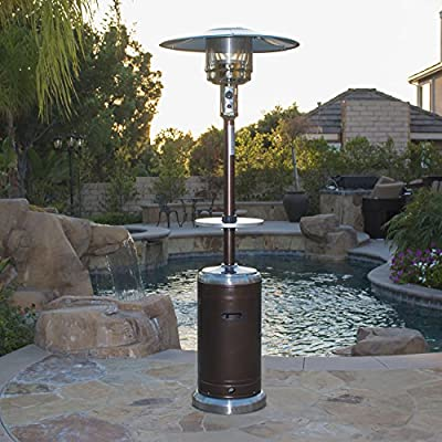 BELLEZE 48000BTU Portable Hammer Finished Propane Patio Heater (Bronze Stainless Steel) Space Stove with Wheels & Table for Outdoor