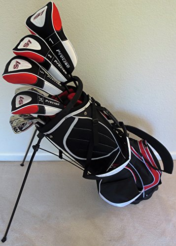 """Mens Complete Golf Set Custom Made Clubs for Tall Men 6'0""""- 6'6"""" Tall Driver, 3 & 5 Fairway Woods, Hybrid, Irons, Sand Wedge, Putter Bag Stiff"""