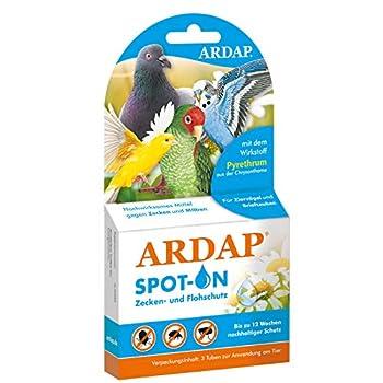 ARDAP Spot on – Protection Contre Les tiques et Les acariens pour Oiseaux ornementaux et Les Feuilles – Ingrédient Actif Naturel – Protection Durable jusqu'à 12 semaines