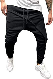 Vibola Men's Casual Mid Pants Elastic Waist Drawstring Joggers Athletic Workout Gym Trouser Sweatpants