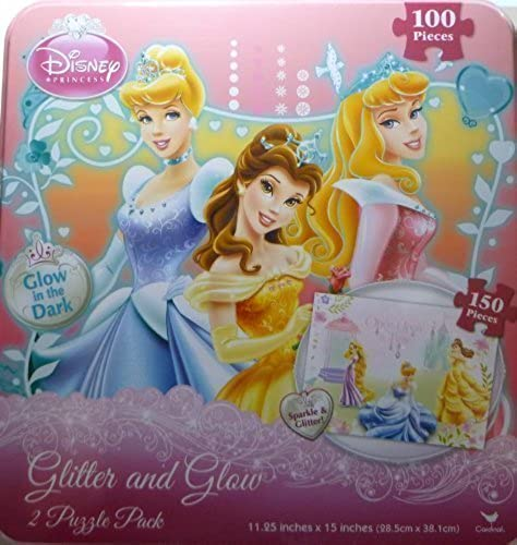 Disney Princess Princesses Puzzle Sparkle & Glitter Glow in the Dark Puzzles Includes Storage Tin by Disney
