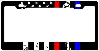 Christopher Macadam Police&Firefighter&EMT Flag License Plate Frames, Alumina Car Licence Plate Decor Covers