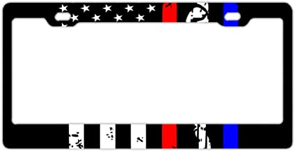 GND Proud Firefighter MOM Auto License Plate Frame,US Firefighter Premium Slim Style Stainless Steel License Plate Frame Bonus Matching Screws Caps