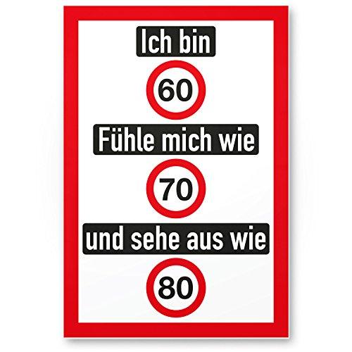 Bedankt! Ich Bin 60 jaar, grappig plastic bord - cadeau 60e verjaardag, cadeau-idee verjaardagscadeau zestigste, verjaardagsdeco/feestdecoratie/feestaccessoires/verjaardagskaart