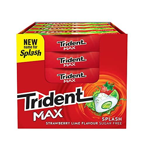 Trident Max Splash Fresa y Lima - Chicles sin Azúcar con Sabor a Fresa y Lima- Paquete de 16 Envases de 22 g