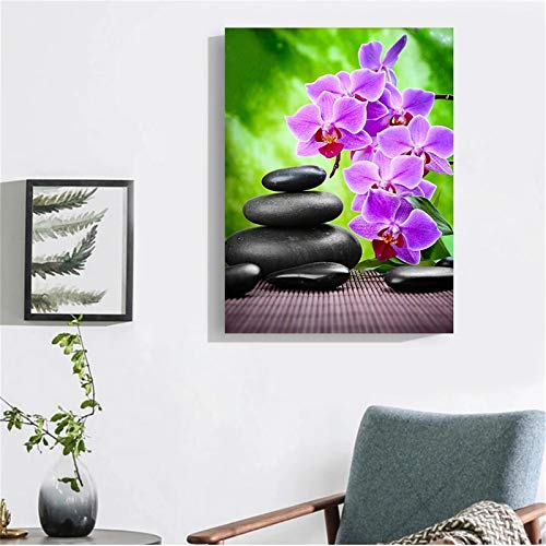 DIY 5D Diamond Painting by Number Kit Flower Adults/Kids Full Drill Crystal Rhinestone Diamond Embroidery Cross Stitch Pictures Arts Craft Canvas for Home Wall Decoration Gift 40x50cm/16x20in