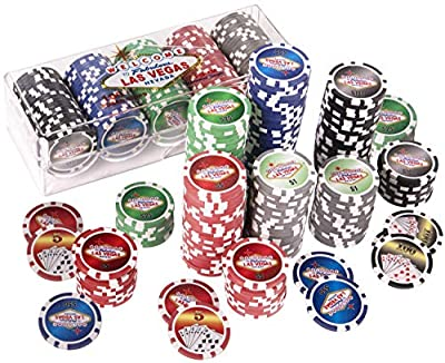 Silly Goose Games New Las Vegas Poker Chips in a Plastic Stack Able Poker Chip Tray with Lid (100 Poker Chips)