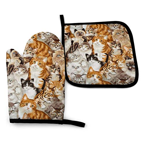 Cute Cat Oven Mitts Extreme Heat Resistant Soft Cotton Lining Pot Holder Oven Gloves Set for Kitchen BBQ