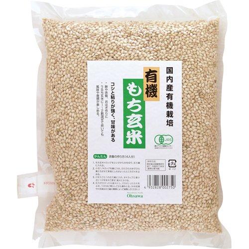 オーサワ 国内産 有機もち玄米 1kg×2個           JAN:4932828030678