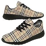 Plaid Shoes Women Men Running Shoes Athletic Tennis Sneakers 3D Print Scottish Khaki Buffalo Plaid Walking Golf Shoes Gifts for Girls Boys,US Size 13 Women/11 Men,Black