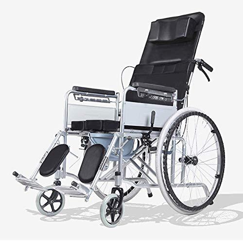 Zusammenklappbare Rollstühle Tragbar mit kleinem Toilettensitz Voll liegender Rollstuhl für ältere Menschen mit Behinderung Multifunktionswagen