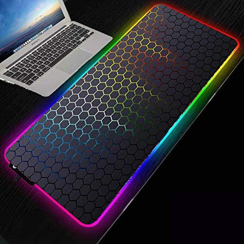 ZETIAN RGB Große Maus Pad Gamer XXL Maus Teppich Große Mause Pad PC Schreibtisch Spielen Mate con retroiluminación-Hexágono_Los 400X800X4MM