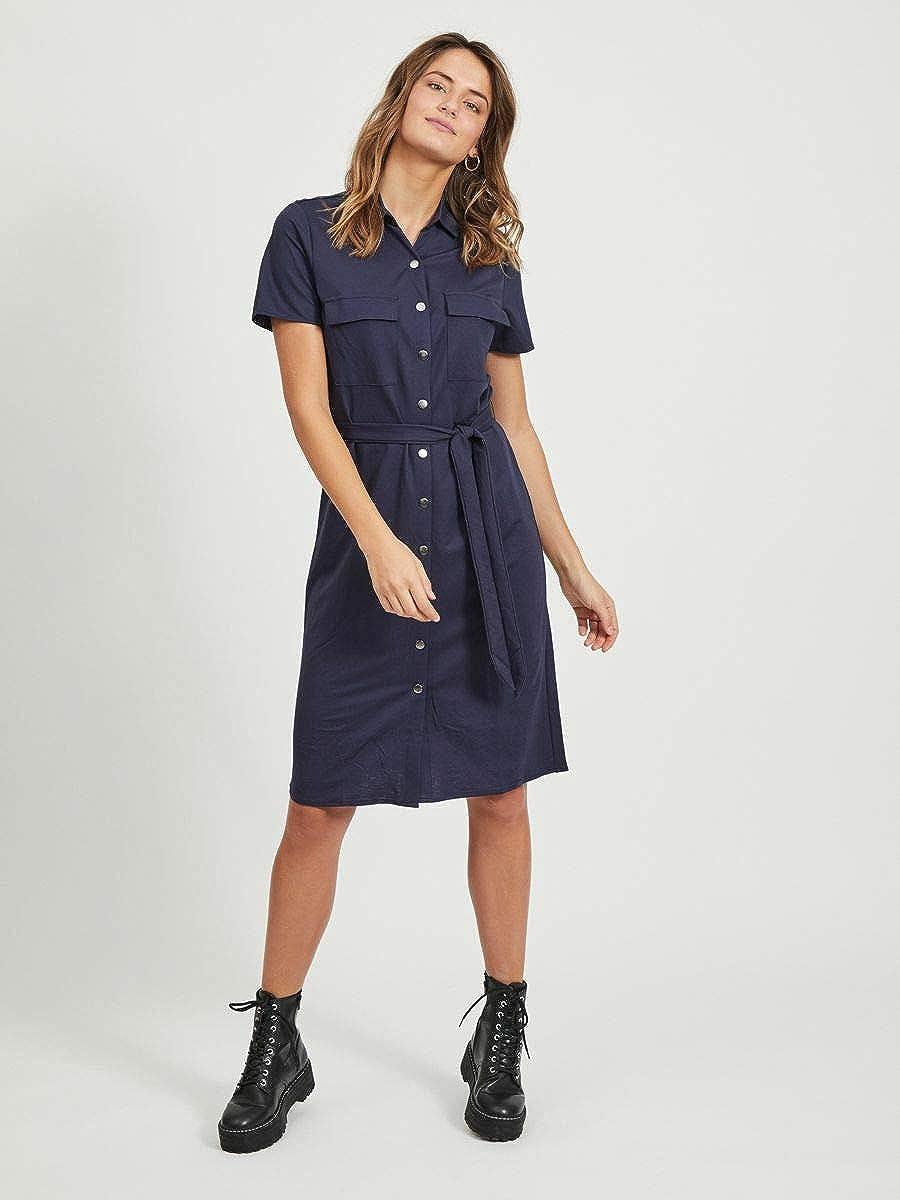vorn gebundenes Vila Damen Blusenkleid Kurz/ärmeliges