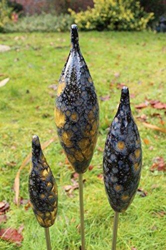 Spitzen aus Keramik - schwarz - 30/25/20 cm Garten Rosenkugel Zapfen