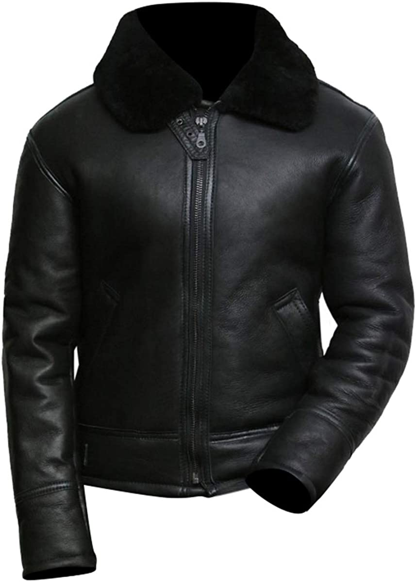 Shearling Jacket Men - Men's Black Aviator B3 Real Shearling Sheepskin Leather Bomber Flying Pilot Jacket