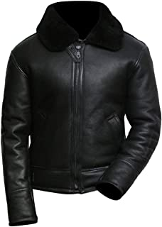 Men's Black Aviator B3 Real Shearling Sheepskin Leather Bomber Flying Pilot Jacket
