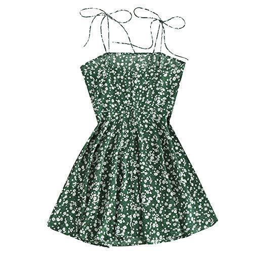 ZAFUL Women's Mini Dress Spaghetti Straps Sleeveless Boho Beach Dress (M, Sea Turtle Green-Ditsy Print)
