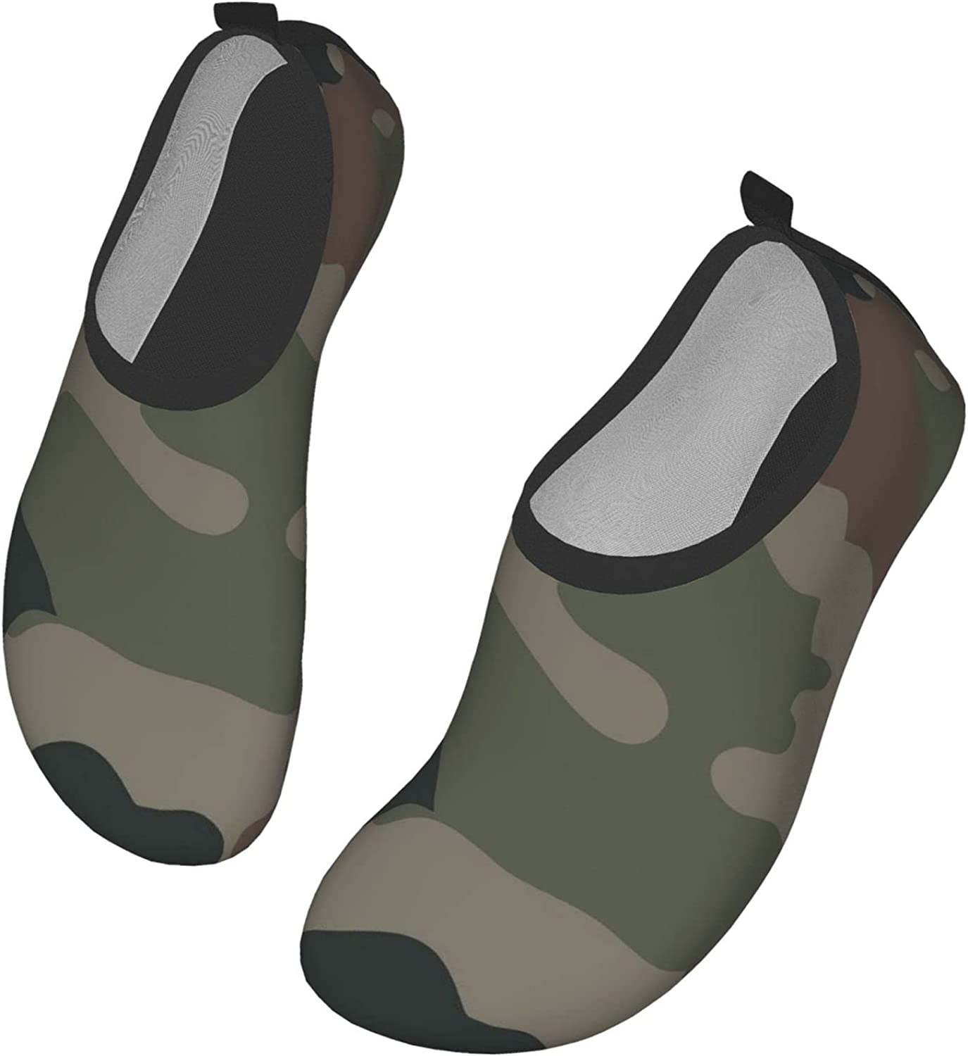 Novelty Men Women Water Shoes, Green Camouflage Camo Quick Dry Barefoot Aqua Socks, Slip-On Barefoot Shoes for Outdoor Beach Yoga Sports Surf Exercise