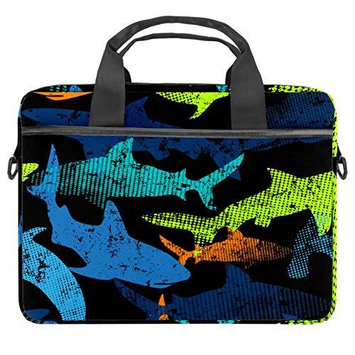 Laptop Shoulder Bag 15 Inch Briefcase Document Messenger Bag Business Handbag with Handle & Shoulder Strap Colored Sharks Silhouette