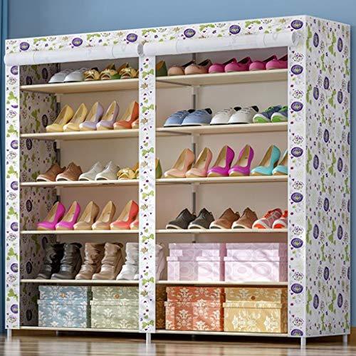 M-YN Zapatero 6-Tier Shoe Rack de Almacenamiento, Zapato Organizador, Zapato de Tela Shelf Permanente gabinete, for 36 Pares de Zapatos con Prueba de Polvo de la Cubierta (Color : E)